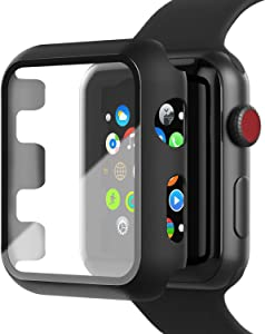 INTLIFE Case Compatible with Apple Watch Series 3 / Series 2 42mm with Screen Protector, Matte Hard PC Protective Cover with Tempered Glass Screen Protector Accessories for iWatch (Black)