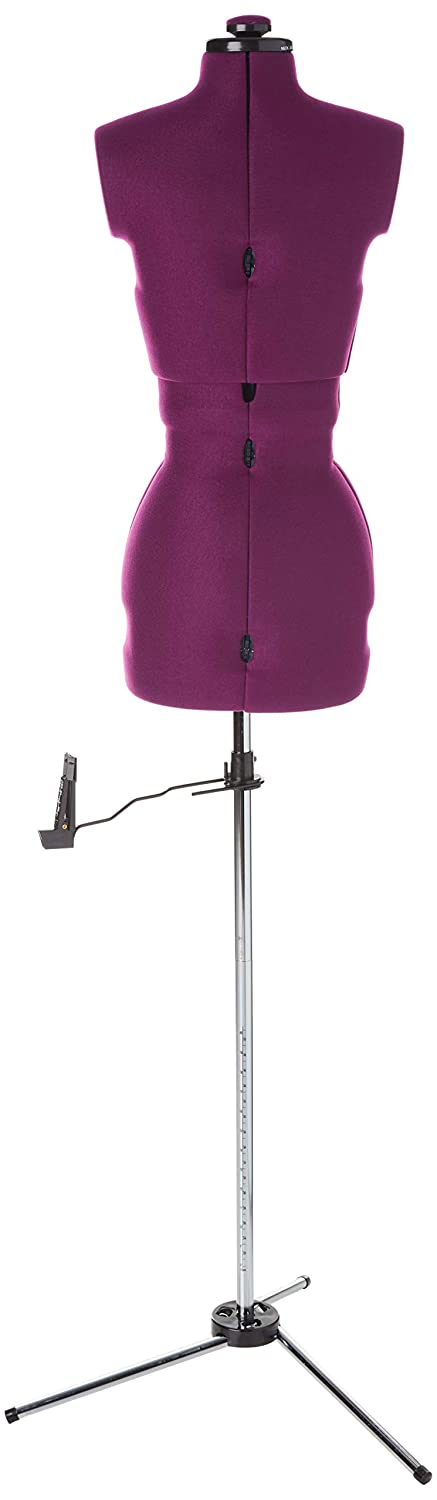 """Dritz 20075 My My Double Dressform with Tri-Pod Stand Adjustable Up to 63/"""" Shoulder Height Plum Petite"""