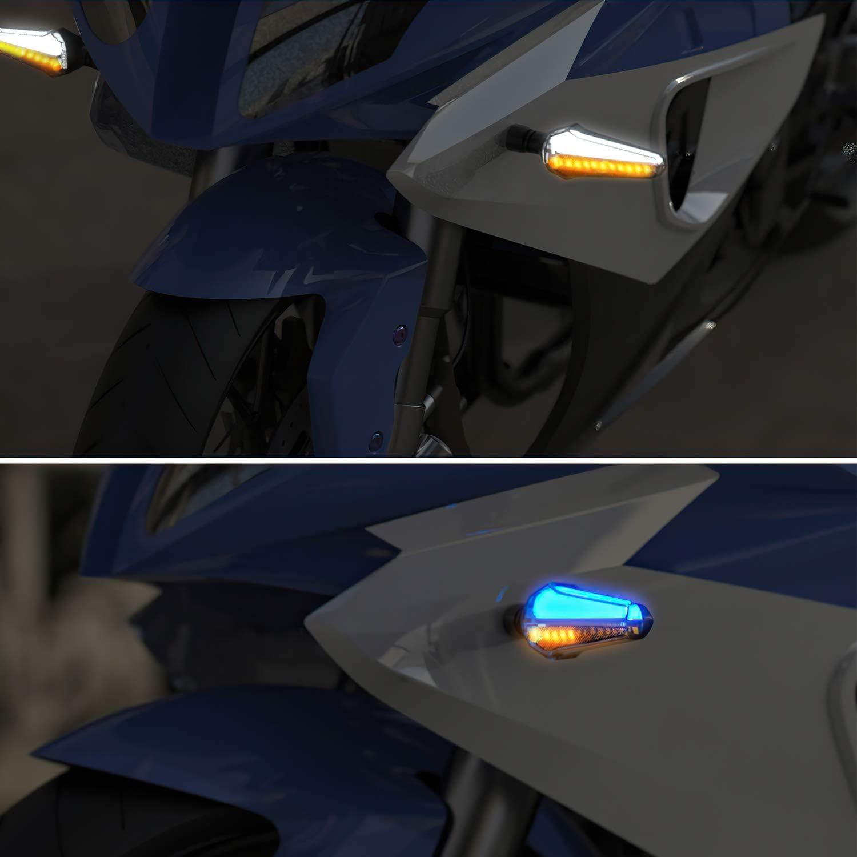 GLCS GLAUCUS 4PCS Intermitentes Moto 24LEDs Indicadores Luces Se/ñal de Giro 12V Universales Motocicleta Luz Indicador Luces de Freno Traseras Luces de Circulaci/ón Diurna