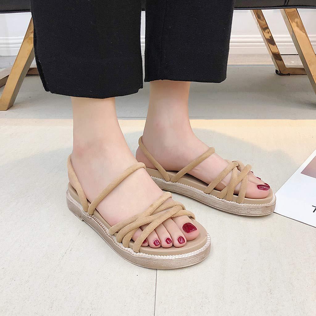 LuluZanm Flat Sandals for Women,Ladies Solid Anti-Skid Durable Roman Sandals Outdoor Peep-Toe Causal Beach Shoes