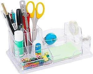 URbantin Desk Organizer, Pencil Holder Pen Holders, Acrylic Office Desk Supplies Organizer Caddy with Tape Dispenser (Clear)