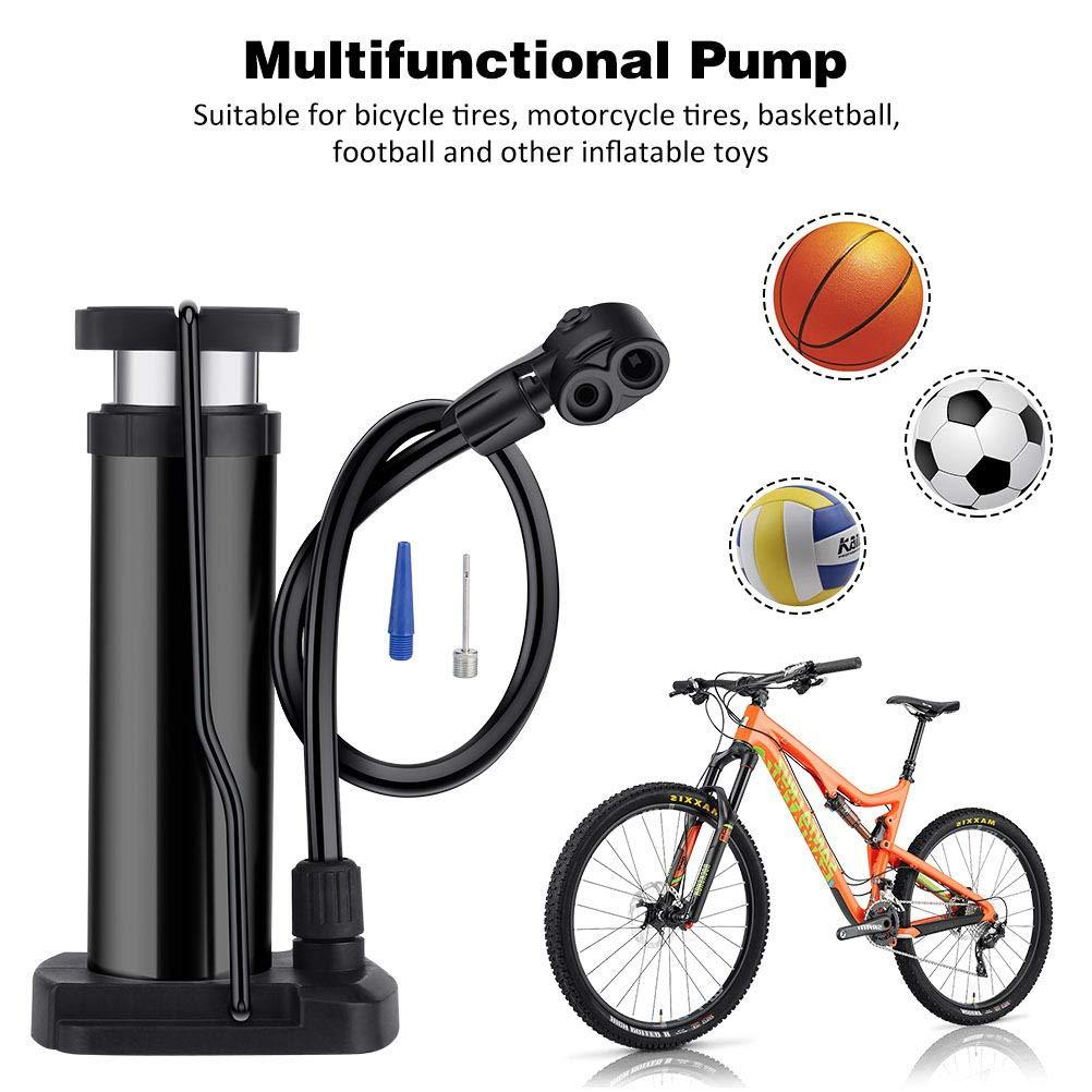Kndio Mini Bike Floor Pump Bike Pump Foot Activated Bicycle Pump Portable Bike Pump Bike Tire Pump Universal Presta /& Schrader Valves Aluminum Alloy Barrel Free Gas Needle