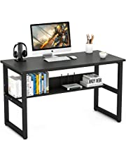 Computer Desk, LASUAVY Office Study Desk Computer PC Laptop Table Workstation with Steel Frame and Bookshelf for Home Office, Black Wood Grain