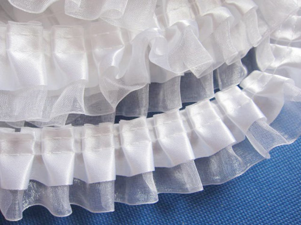YCRAFT Pack of 5y Two Tone Satin Organza Lace Edge Trim 1.5 Wedding Ribbon Sewing-White