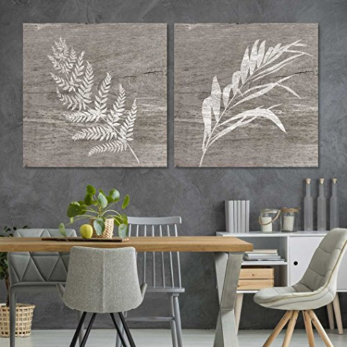 "- 2 Panel Square Canvas Wall Art - White Folliage Wood Effect Canvas - Giclee Print Gallery Wrap Modern Home Decor Ready to Hang - 24""x24"" x 2 Panels"