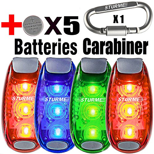 STURME LED Safety Light 4 pack + 5 Bonuses Battery Clip On Strobe Running Lights for Runner Bicycle Bike Cycling Walking Jogging Accessories Flashing Reflective Gear Dog Collar Night Light