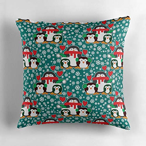 Biekxrso Christmas Love Penguins Short Plush Soft Cotton Decorative Square Throw Pillow Cover Set Cushion Case Cover Pillow Case Cover for Sofa Bedroom Car 18x18 Inch (Penguin Short Plush)
