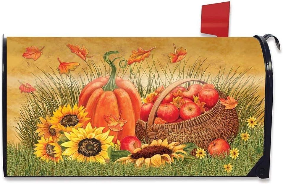 EricauBird Pumpkin and Apples Autumn Mailbox Cover Sunflowers Fall Standard, 18x21 Magnetic Mailbox Wraps