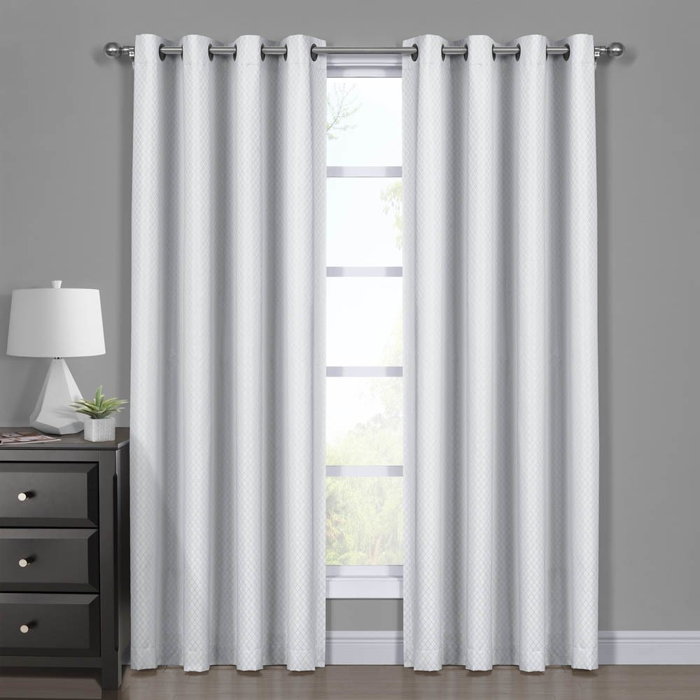 Diamond White Curtains, Blackout Top Grommet, Jacquard Woven Diamond Window Panels, Pair / Set of 2 Panels, 54x96 inches Each, by Royal Hotel