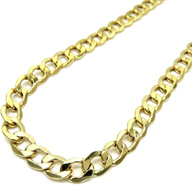Real 10k Yellow Gold Hollow Miami Cuban Link Chain  Necklace For Men  Women 3.0mm