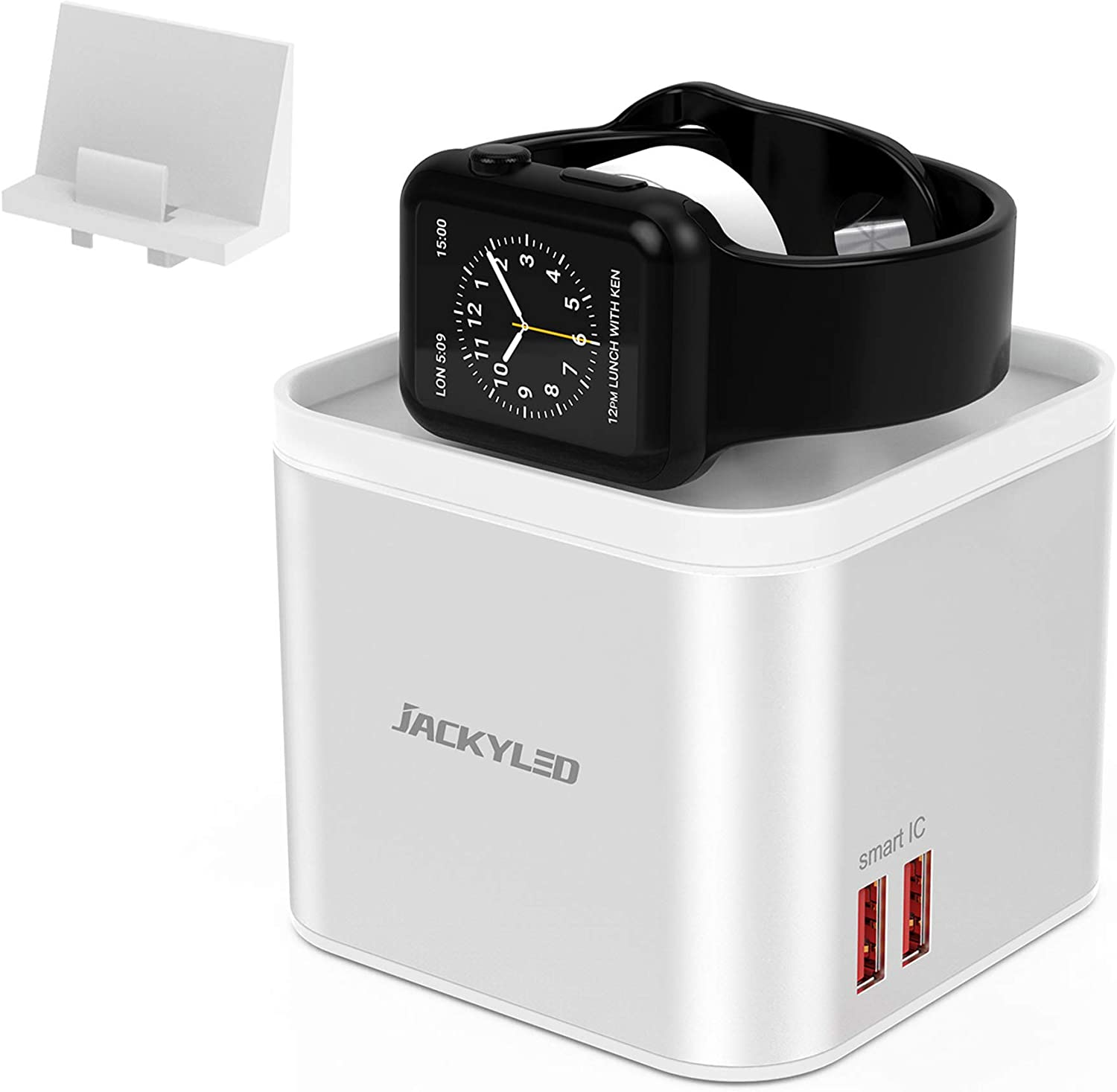 JACKYLED iWatch Charger Stand for Apple iWatch Series 1-5, Detachable Wireless Charging Pad for iPhone 12/11/XS and Samsung S10/9, Charging Station with 5 USB Ports and Phone Holder for Multi Devices