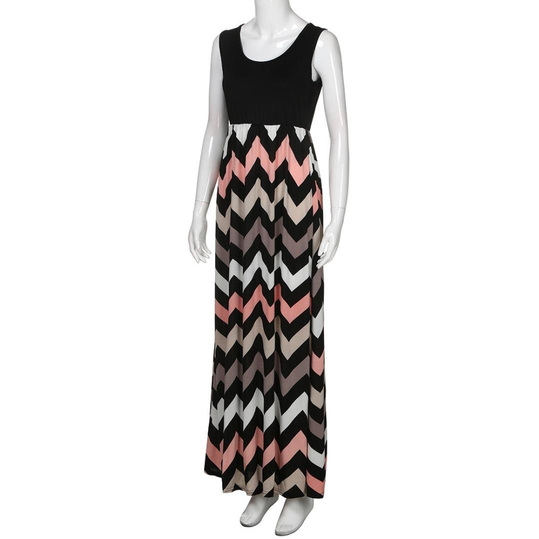 ccda06e13b4 LHWY Kleider Damen Elegant Frauen Gestreift Lang Boho Kleid Lady  Strandkleid Freizeit Vintage O Ärmellos Sommerkleid Maxikleid Schwarz Plus  Größe S-3XL  ...