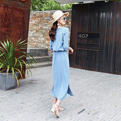 Robe Femme Noire Mousseline M Longueur de Robe Slim de Robes Retro MiGMV Moyenne Blue wnqWIcSFYt