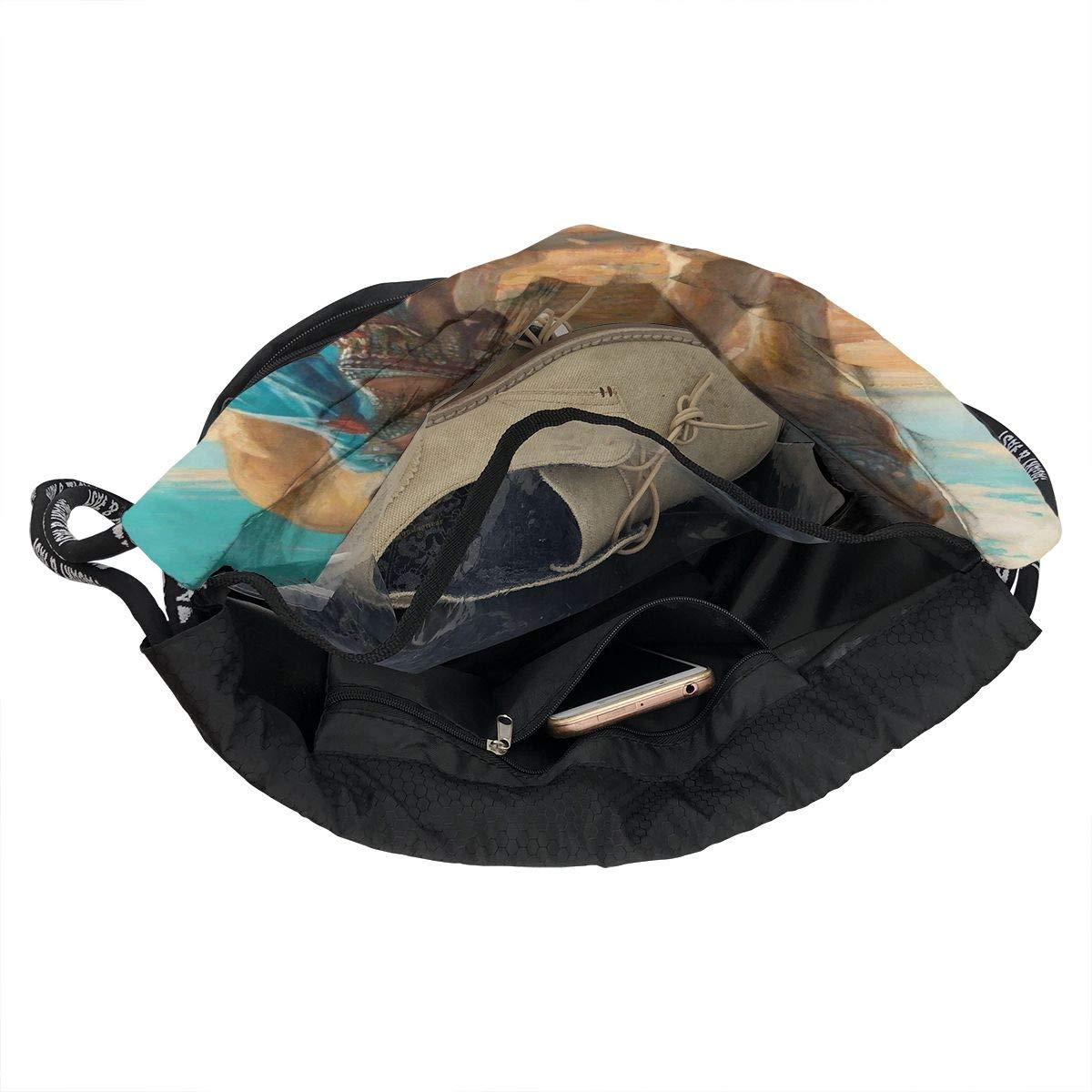 HUOPR5Q Beauty and Lion Drawstring Backpack Sport Gym Sack Shoulder Bulk Bag Dance Bag for School Travel