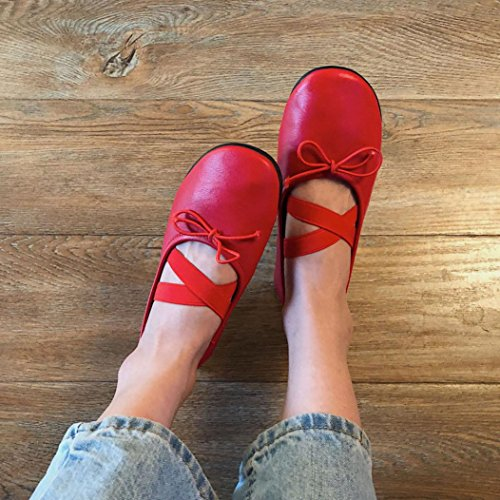 VEMOW Sandals for Women, Trainers Mary Janes Cute Lace-up Flats Flip Flops Thongs Espadrilles Wedge Running Walking Dance, Soft Ballet Dance Yoga Sneakers Fashion Casual Pea Shoes Red