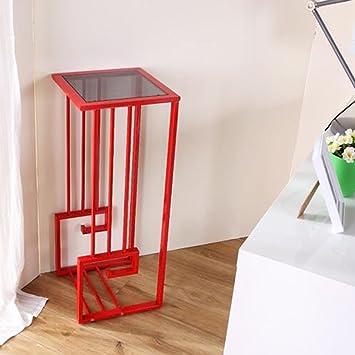 Estante de flores de madera ---- Square De Pie Blanco / Rojo Vidrio Templado + Acero Inoxidable Creatividad ...