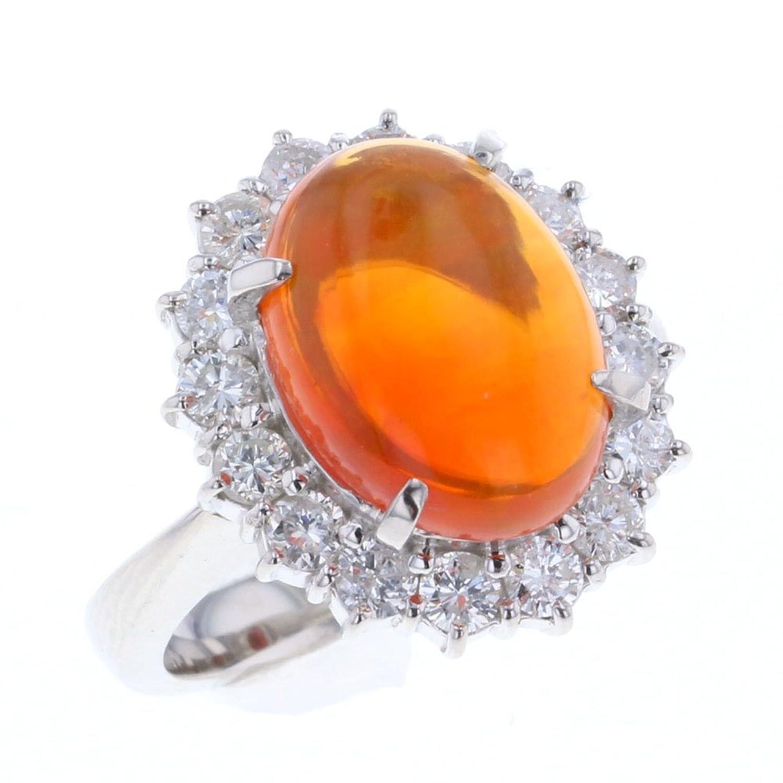 (ノーブランド品) リング指輪 プラチナPT900/オパール オパール3.95ct ダイヤモンド1.01ct レディース 中古 [PD3] B07BW8TC4H