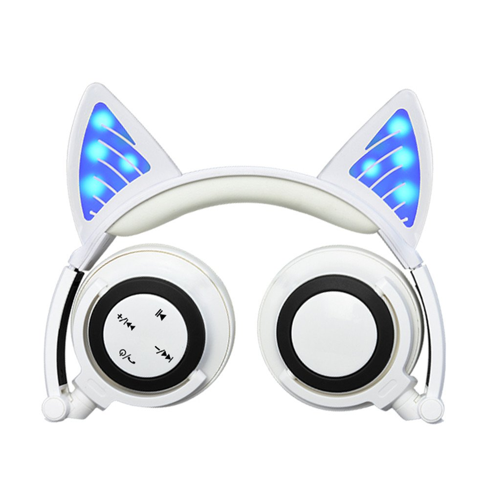 Cat Ear Headphones, Wireless Bluetooth Flashing Glowing Romantic Valentine's Day Cosplay Fancy Cat Headphones Foldable Over-Ear Earphone with LED Flash light for iPhone 8/7/iPad,Android Mobile (White) by GZCRDZ