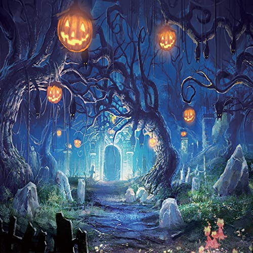 Halloween Horror Nights Backgrounds (SJOLOON Halloween Horror Night 8X8FT CP Pictorial Cloth Photography Background Computer-Printed Vinyl Backdrop)