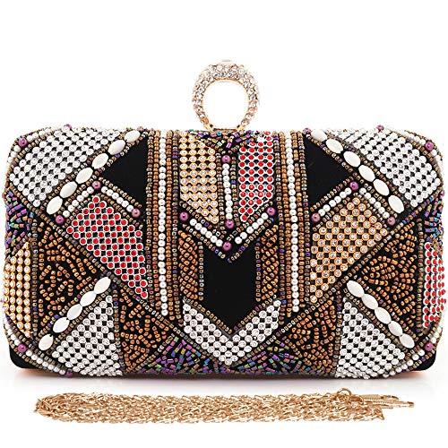 - Womens Clutches Colorful Beaded Evening Bag Rhinestone Handbag Lint Purses Wedding Bags (Black)
