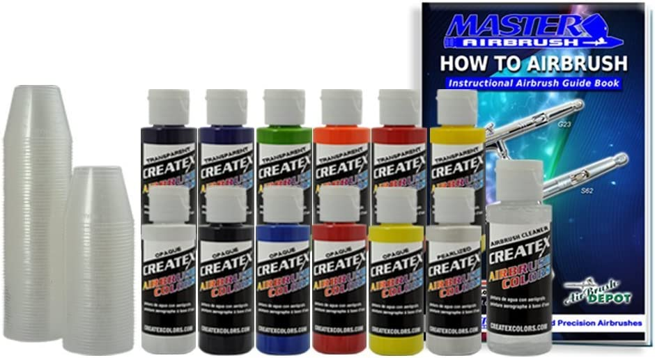 12 Createx Colors Airbrush Paint Set Basic Starter Kit - now includes (FREE) pack of 100 - 1 ounce paint mixing cups & Our FREE How-To Airbrush Book to help get you started, Published Exclusively by TCP Global. 61UG48GNiSL