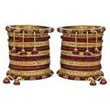 MUCH-MORE Marvellous Set of Multi Color Bangles Traditional Partywear Jewelry for Womens & Girls (Maroon, 2.8)