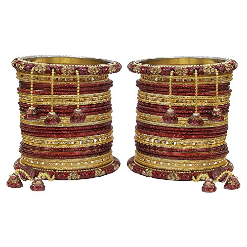 MUCH-MORE Marvellous Set of Multi Color Bangles Traditional Partywear Jewelry for Womens & Girls (Maroon, 2.8) by MUCH-MORE