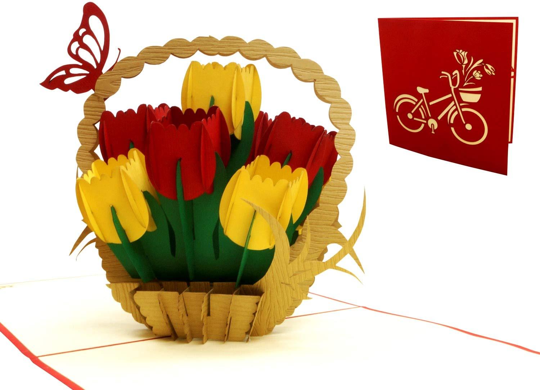 soggetto Biglietto tridimensionale pop-up per compleanno tulipani Lin 17573