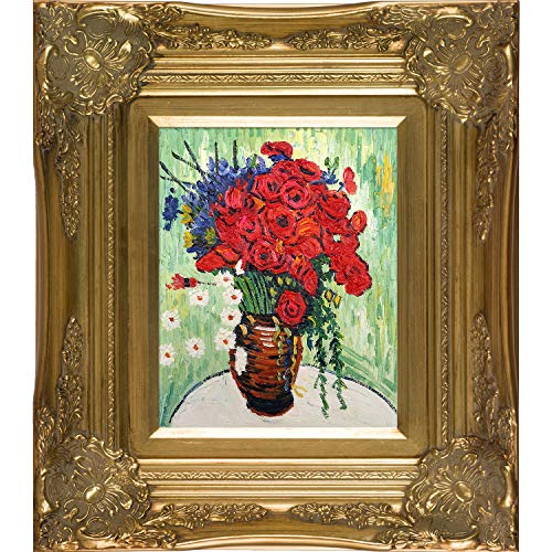 overstockArt Vg2466-Fr-6996G8X10 Van Gogh Vase with Daisies and Poppies with Victorian Gold Frame, Gold Finish