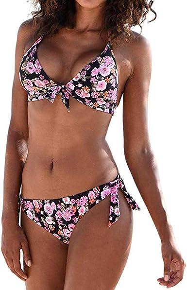 Rytejfes Bikinis Mujer Sexy Verano Push Up Estilo Etnico Banador Conjuntos Cuello En V Cuello Halter Relleno Estampado Bikini Divididos Traje De Bano De Tubo Ropa De Playa Talla Grande Amazon Es Ropa