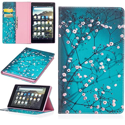 - SMYTShop Folding Stand Painted Leather Case Cover with Pockets for Amazon Kindle Fire HD8 8 Inch (A-Flower)