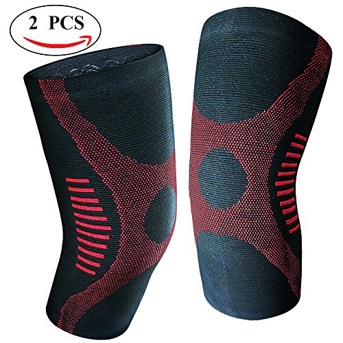 JforU Athletics Knee Brace Compression Sleeve - 1 Pair for Running, Jogging, Basketball, Sports, Joint Pain Relief, ACL, MCL, Meniscus Tear, Arthritis and Injury Recovery Red, X-Large One Pair