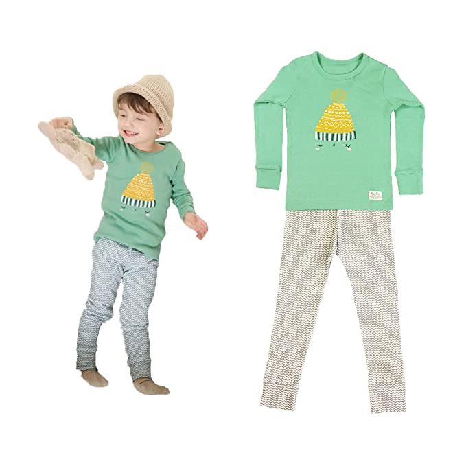 100% Cotton Thermal Underwear Pajamas Set for Kids Boys Girls Toddlers (24M, Green