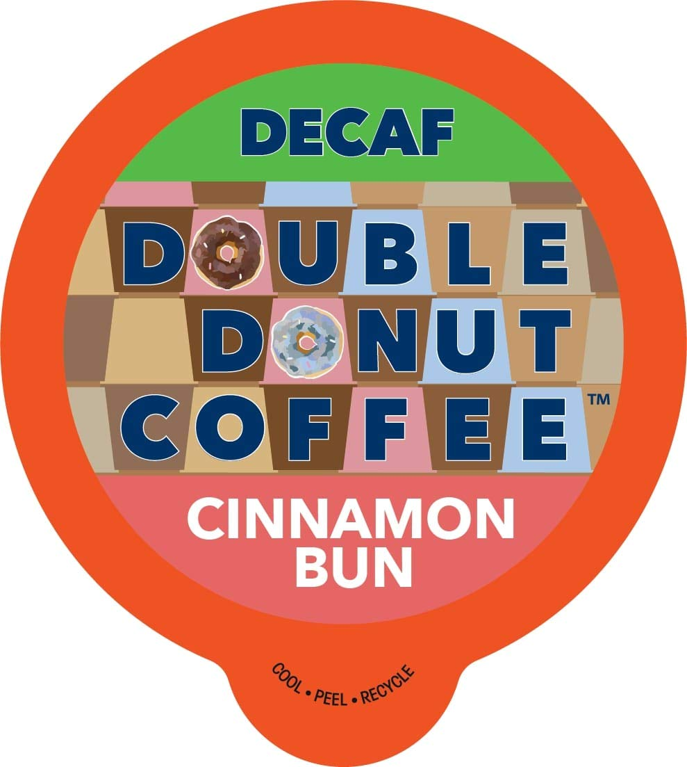 Cinnamon Bun Coffee Medium Roast Decaf Flavored Coffee Pods for Keurig K Cups Makers from Double Donut, 80 Capsules