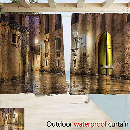 AndyTours Rod Pocket Top Blackout Curtains/Drapes,Gothic Gothic Ancient Stone Quarter of Barcelona Spain Renaissance Heritage Night Street Photo,Outdoor Privacy Porch Curtains,W55x63L Inches,Cream