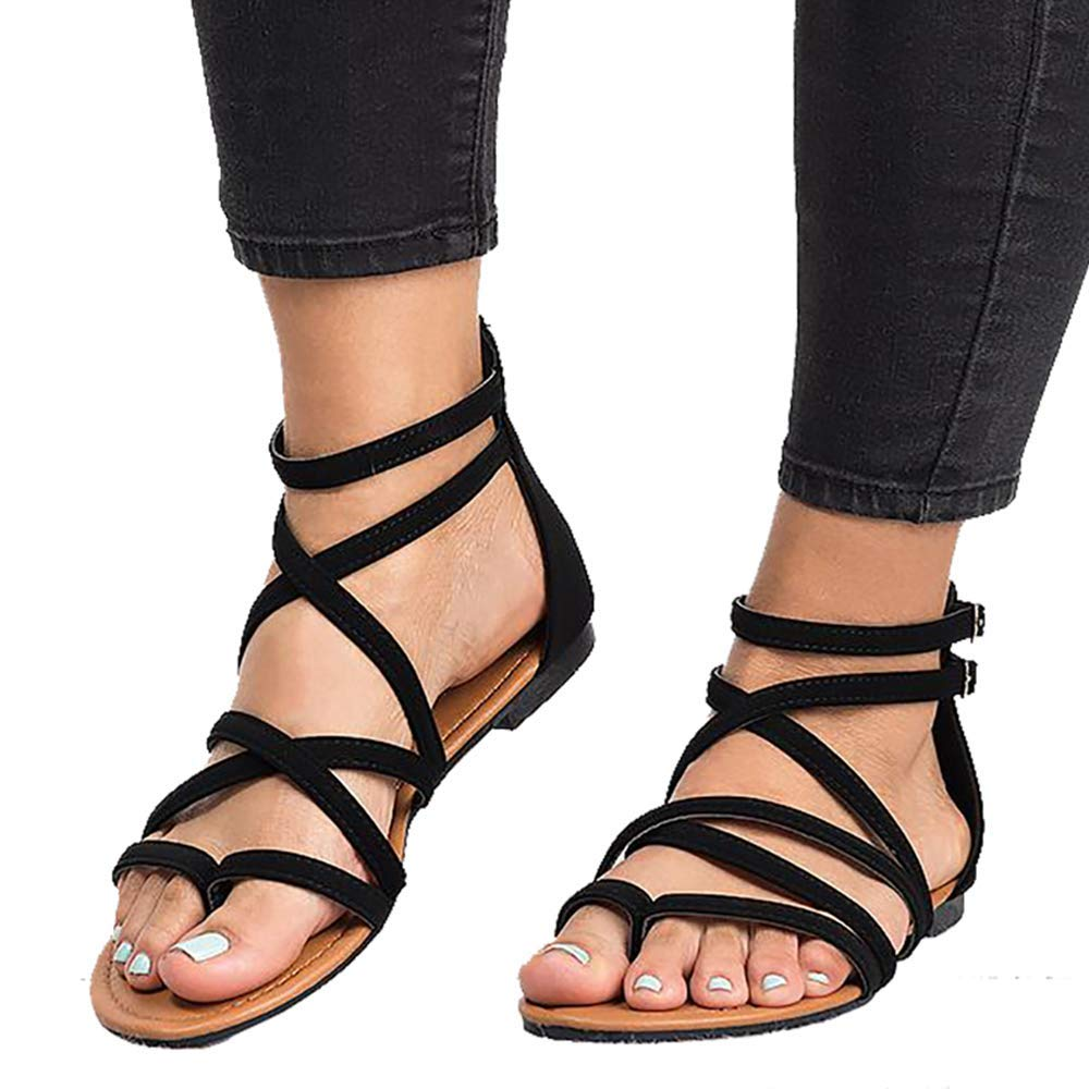 FIRENGOLI Sara Love Women's Casual Gladiator Sandals Summer Zipper Strappy Thong Flats Shoes