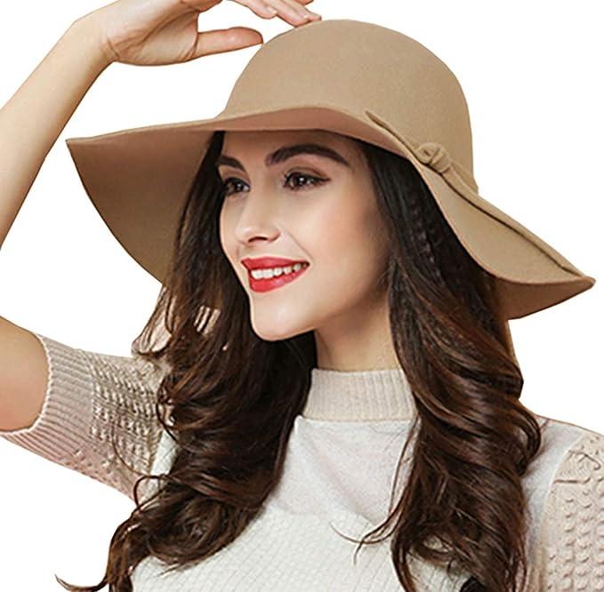 0fcdefb0 ASSQI Women's 100% Wool Foldable Wide Brim Retro Fedora Floppy Felt Bowler  Hat