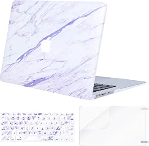 MOSISO MacBook Air 13 inch Case (A1369 & A1466, Older Version 2010-2017 Release), Plastic Pattern Hard Case&Keyboard Cover&Screen Protector Only Compatible with MacBook Air 13, White Purple Marble
