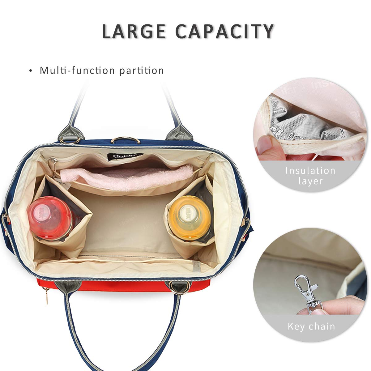 Black SONARIN Multifunctional Baby Nappy Changing Bag for Traveling,Satchel,Insulated Pockets,Waterproof,Large Capacity,Stylish and Durable