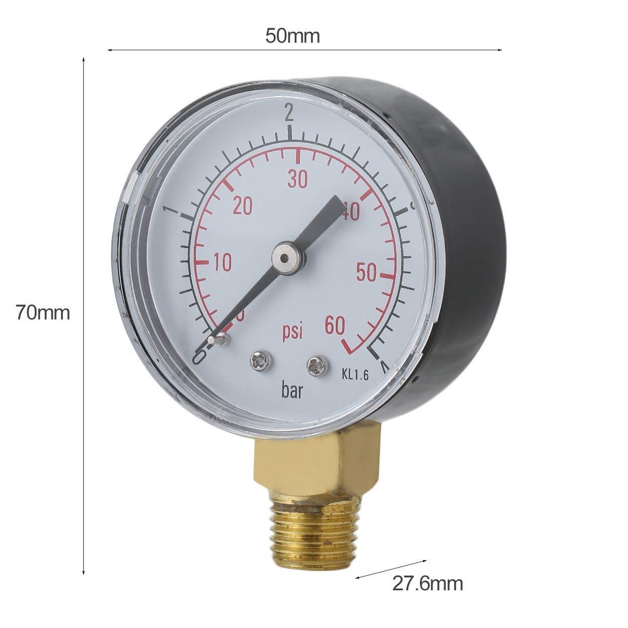Lorenlli Manom/ètre de pression deau pour filtre de spa de piscine pratique Mini 0-60 PSI 0-4 Bar Montage lat/éral 1//4 pouce Filetage de tuyau NPT TS-50