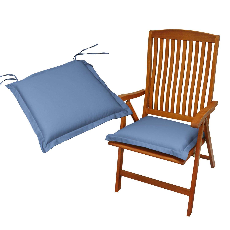 Indoba 2 x Sitzkissen Premium Polsterauflage, Blau