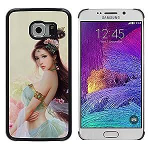 LECELL--Funda protectora / Cubierta / Piel For Samsung Galaxy S6 EDGE -- ASIÁTICO princesa de las flores --