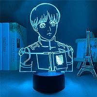 LED 3D Nachtlampje, Aanval Op Titan Armin Arlert Nachtlampje 16 Kleuren Veranderende Afstandsbediening Dood Model…