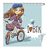 Liguo88 Custom Waterproof Bathroom Shower Curtain Polyester Kids Decor Cartoon Girl Image with French Hat and a Bike with Flowers Image Purple Grey and White Decorative bathroom