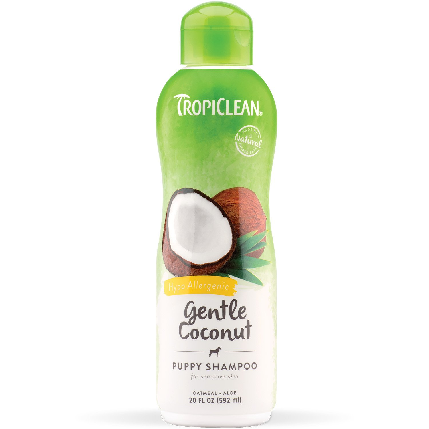 TropiClean Gentle Coconut Puppy Shampoo, Mild Shampoo for Puppies, Kittens and Pets with Allergies, Hypoallergenic Tearless Pet Shampoo, 20 oz.
