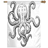HUANGLING Sketch Style Print Of Deadly Blue Ringed Octopus Camouflage Marine Animal Aquatic Home Flag Garden Flag Demonstrations Flag Family Party Flag Match Flag 27''x37''