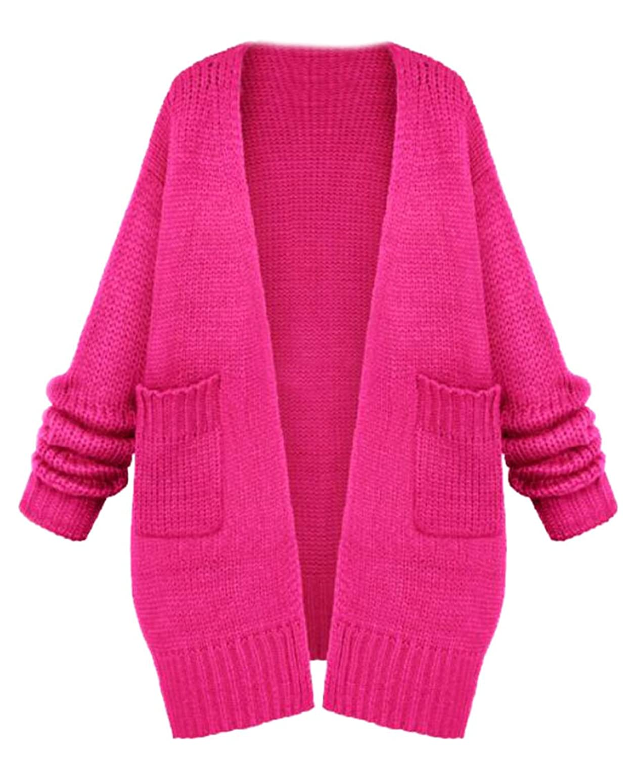 ARRIVE GUIDE Womens Fashion Solid Loose Open Front Knit Cardigan Jackets