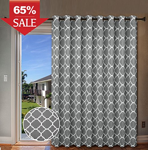 """H.Versailtex Energy Efficient Printed Curtains Extra Long and Wide Thermal Insulated Panels -Grommet Wider Curtain Large Size 100""""W by 84""""L for Patio-Moroccan Tile Quatrefoil Pattern in Grey, 1 Panel"""