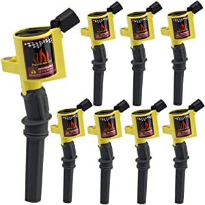 DG508 8 Pack Ignition Coils High Performance Multispark Blaster Epoxy 15% More Energy Fit for Ford 04-08 F-150 Expedition V8 4.6 5.4L(Yellow)