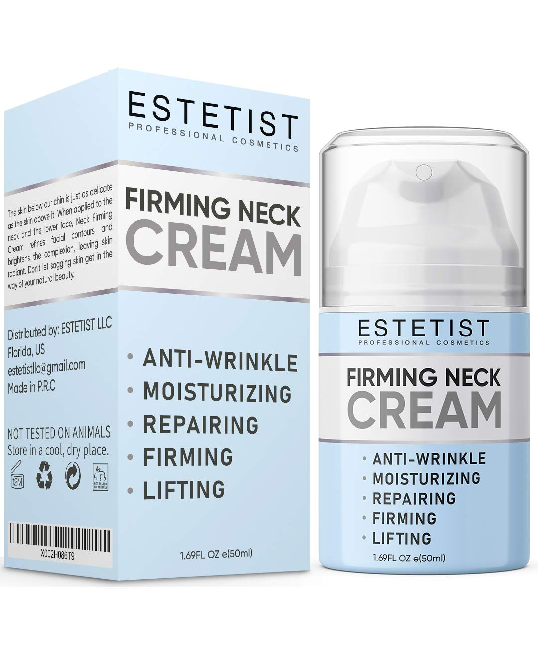 Neck Firming Cream for Tightening & Lifting Sagging Skin - Double Chin Reducer - Anti Wrinkle Anti Aging Treatment for Neck & Décolleté - Crepe Skin Repair for Chest - With Vitamin C & Coconut Oil